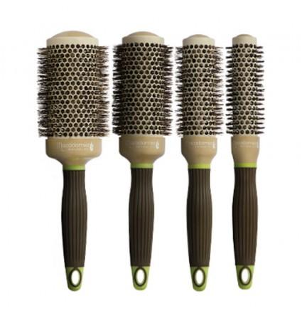 Plaukų formavimo šepečiai su šerno šeriais, 4-ių dydžių